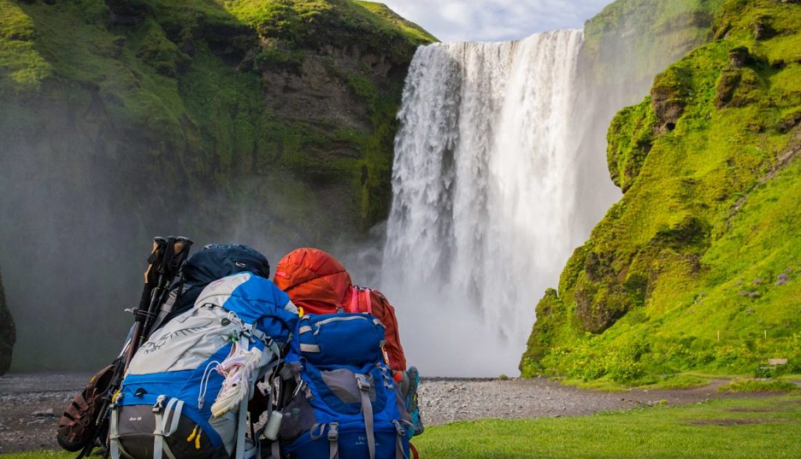 skogafoss iceland backpacks