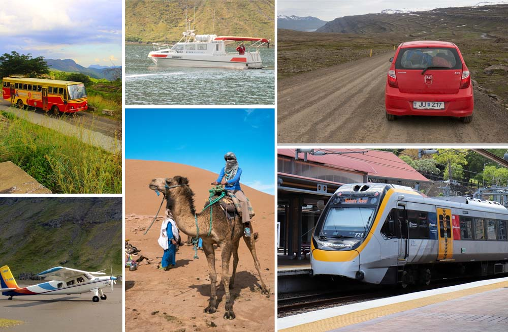 composite image showing various modes of the transportation - biplane, train, bus, boat, car and camel