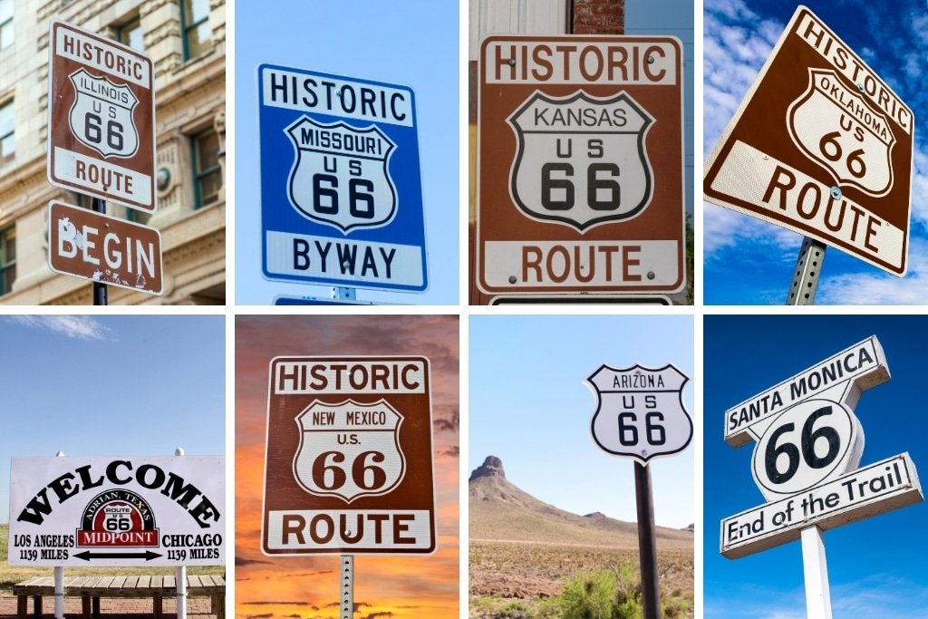 road signs of route 66