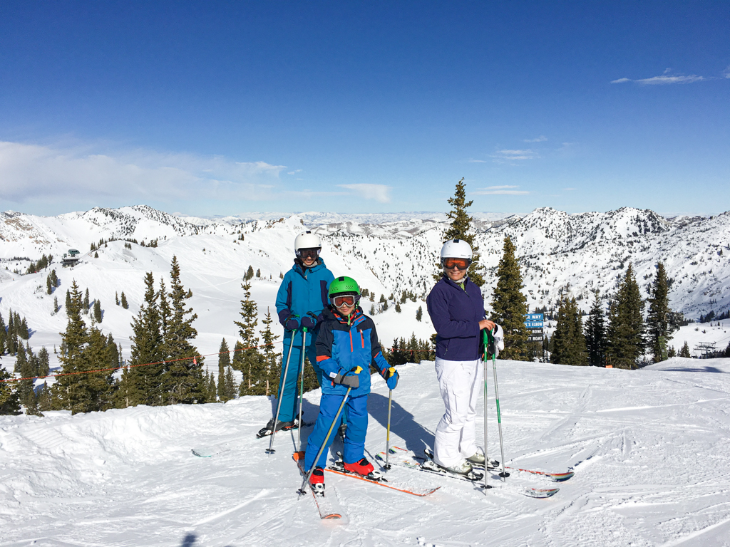 a family skiing at Alta Utah