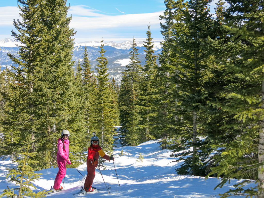 two kids skiing at Breckenridge Colorado
