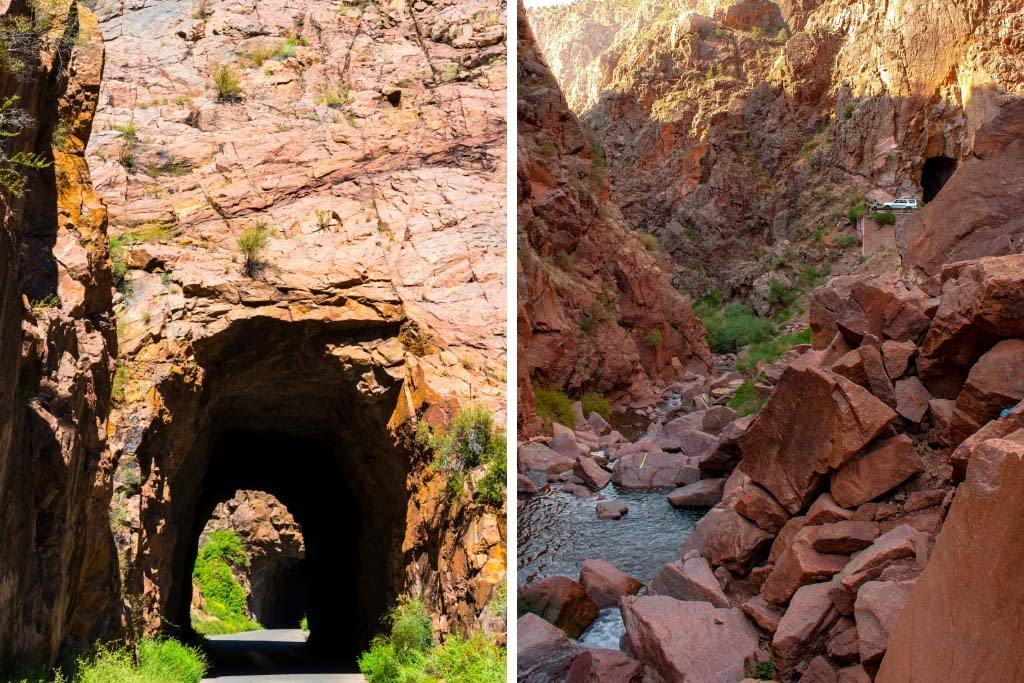 tunnels through the red rocks for road
