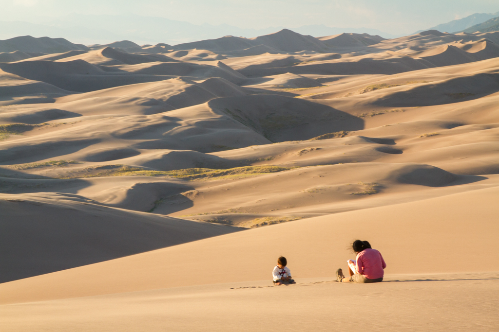 family on the sand dunes