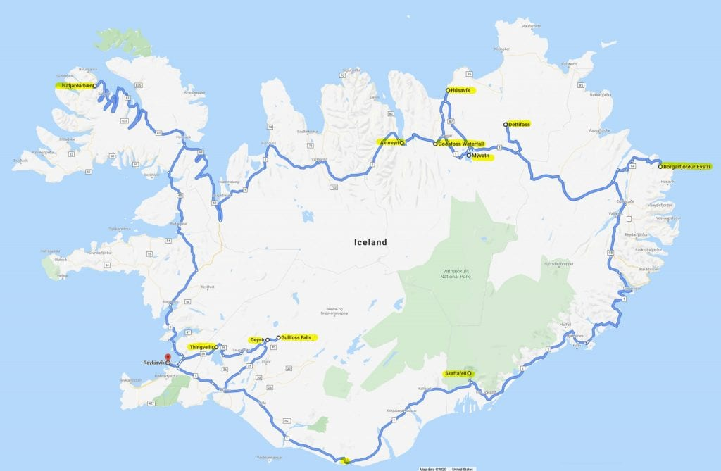 ring road over iceland map