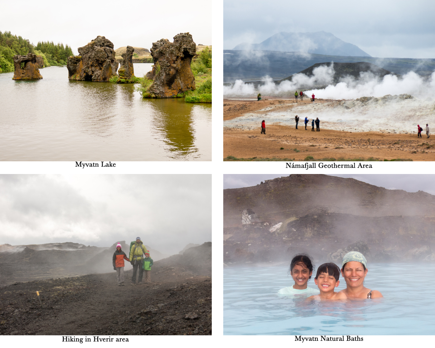 group of photos of lake, people watching geothermal activities, family hiking on lava field and a woman with her kids in the natural pool